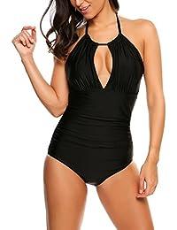 Meaneor Fashion Origin Bikini Damen Badeanzug Mädchen Neckholder Swimsuit  Neu Fashion Schwimmanzug Einteiler Bademode Schalen Schlankheits Badeanzug 31d23e2f01
