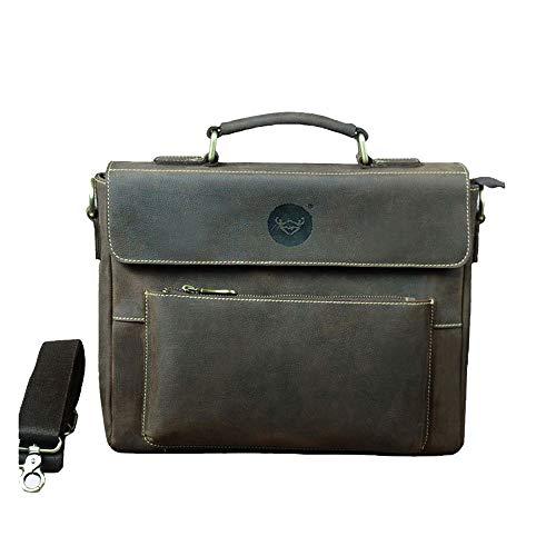 Yehyep Leder Messenger Bag, Vintage handgemachte wasserdichte Aktentasche Schultertasche 12 Zoll Männer und Frauen