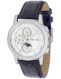 Rotary Timepieces - Reloj analógico de caballero automático con correa de piel negra