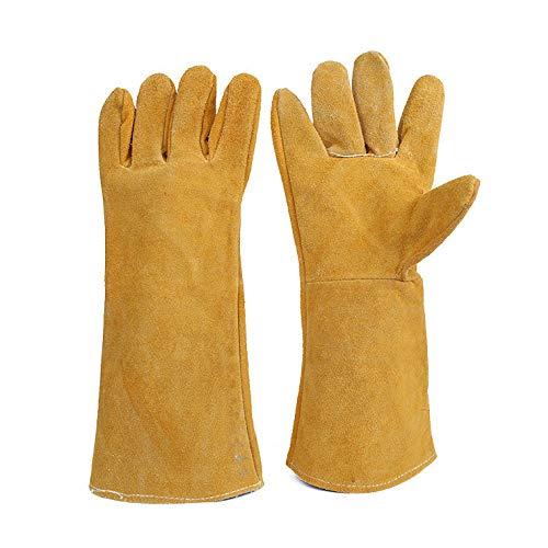 ANHPI,Gants De Protection Longs Et épais en Toile De Coton à Deux Couches Anti-échaudage Anti-Usure,Yellow-39.5-40cm