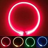 Hundehalsband, Hunde Leuchthalsband LED Halsband, USB Aufladbar,Länge Kann Eingestellt Werden,Red
