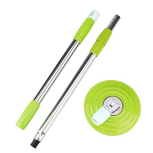 sunnymi Mop Griff Ersatz/Mop Kopf Ersatztücher Clean Twist System Mop,360 Drehbarer Easy Microfiber Spinning Boden,Zubehör Set Einstellen (Mop Griff Grün, 125*16.5cm)