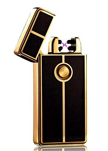 Qprods - Windgeschützt, ökologische elektrische USB Feuerzeug. Doppeltes Electrisches Lichtbogen. Zigarettenanzünder Ohne Flamme oder Flüssigkeiten. USB aufladen. Gold. Lichter Tausende von Zigaretten