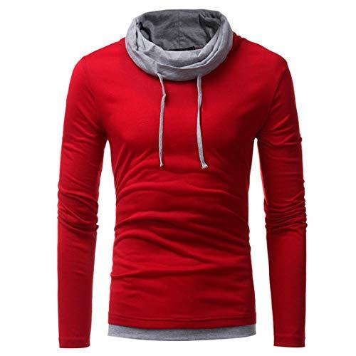 IMJONO Herren Sweatshirt Slim Fit Kapuzenpullover Strickjacke Cardigan Lange Trenchcoat Jacke (EU-48/CN-XL,Rot)