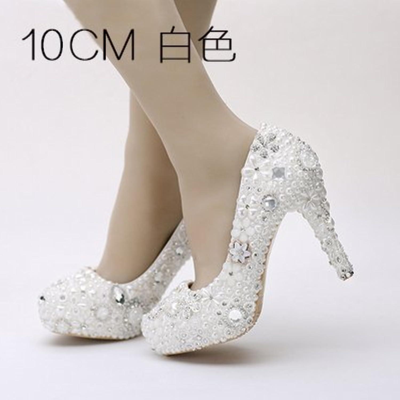 VIVIOO VIVIOO VIVIOO Prom Sandals Bride Pearl Water Drill Flower,bianca Wedding scarpe,Super Heel Waterproof Platform Wedding... | Più pratico  | Scolaro/Signora Scarpa  1a1e4e