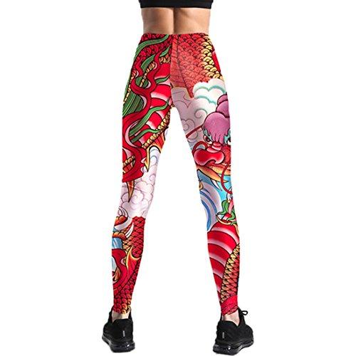 Jiayiqi Mode Femmes 3D Imprimé Footless Taille Haute Leggings Ultra Doux Dragon Rouge