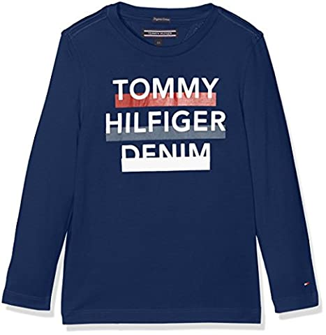 Tommy Hilfiger Ame 3 Col Logo CN Tee L/S, Pull Garçon, Bleu (Estate Blue), 10 Ans (Taille Fabricant: 10)