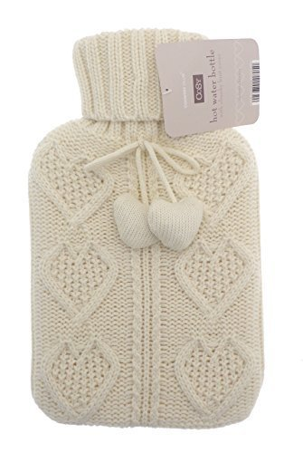 Cable Heart Knit Pom Pom 2L Hot Water Bottle (Cream) by Country Club - Cream Cable Knit