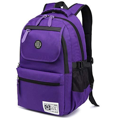Super modern, zaino unisex in nylon, impermeabile, da usare per la scuola, per escursioni, sport e per trasportare il tuo pc, donna uomo bambino, purple, 36-55l
