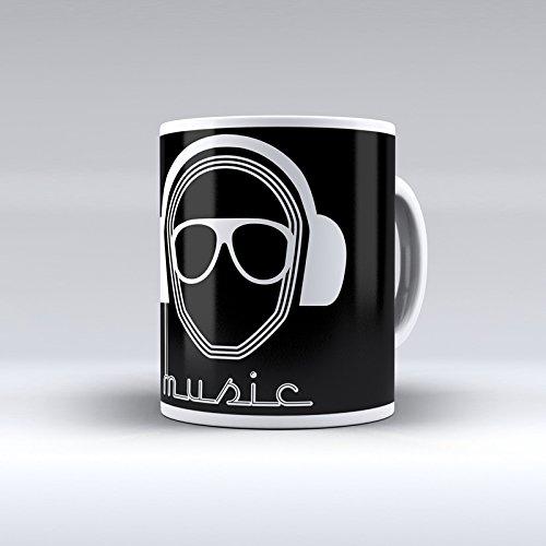 Taza decorada desayuno regalo original diseño diseño DJ Music con ga