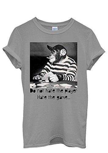Monkey Playing Card Game Funny Men Women Damen Herren Unisex Top T Shirt Grau