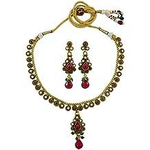 Matra diseñador tradicional tono Oro Acrílico Set joyas étnicas de 2 piezas Collar de Bollywood