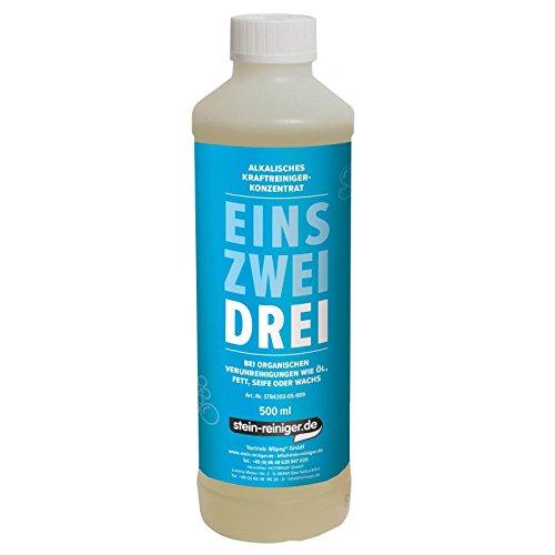 stein-reiniger.de: DREI - Alkalischer Reiniger 500 ml Konzentrat enfernt Öl, Fett, Seife oder Wachs uvm. -