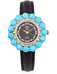 EON 1962 Japanese Movement SLEEPING BEAUTY TURQUOISE 5.70 Ct, Black Dial Water Resistant Watch in Gold Overlay Sterling Silver with Steel Back Leather Strap Silver wt. 21.11 Gms.