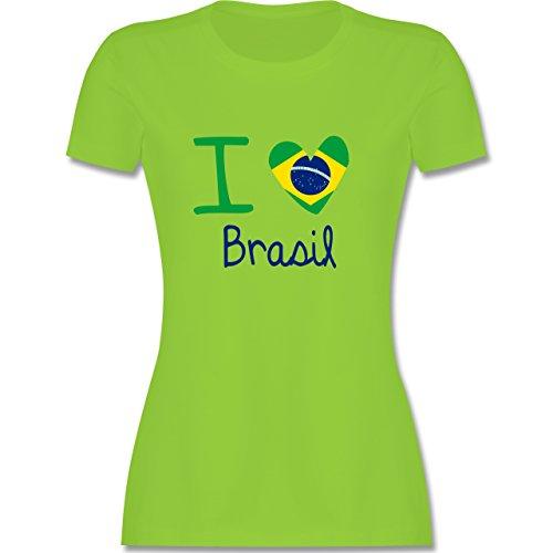 Länder - I love Brasil - tailliertes Premium T-Shirt mit Rundhalsausschnitt für Damen Hellgrün