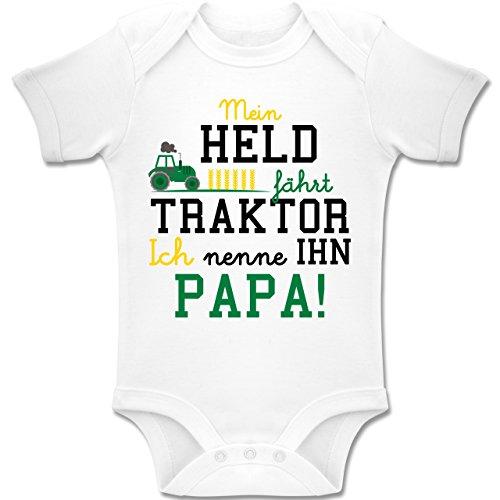 Sprüche Baby - Mein Held fährt Traktor - 1-3 Monate - Weiß - BZ10 - Baby Body Kurzarm Jungen Mädchen (Neugeborenen Traktor Kleidung)