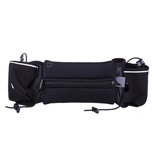 iTECHOR Sportivo marsupio impermeabile pacchetto di Fanny borsa Cintura da Uomo Donna per escursionismo, con Cerniera Blu Cerniera Nero