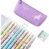Unicorno Penne,SmileStar 10pcs Unicorno Penne di Colori e Astuccio e Unicorno Taccuino per Matita Unicorno per Amanti…