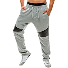 YCHENG Harén Pantalones de Chándal para Hombre Con Bolsillos PU Contraste Jogging Deportivos