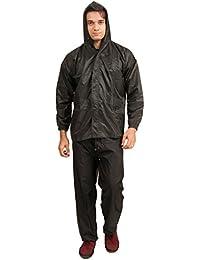 Newera Men's Hooded Raincoat Top and Bottom Set - Salacious-blk_Black_Large
