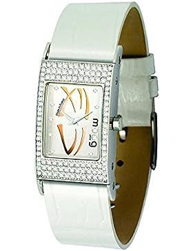 Moog Paris Dome Vogue Damen Uhr mit Silbernem Zifferblatt, Austauschbarem Weißem Armband aus echtem Leder - M44262...