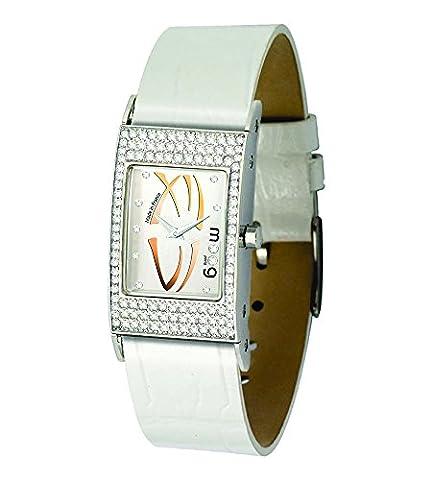 Moog Paris Dome Vogue Damen Uhr mit Silber Zifferblatt, Austauschbares Weiß Armband aus Echtem Leder - M44262-013