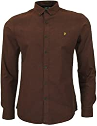 Farah Steen Long Sleeve Oxford Shirt in Red Brick