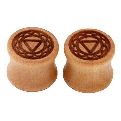 PiercingJ - 2PCS Boucles d'oreilles Gravure Sculpture Manipura Chakra Tibetin Bouddhiste Bois Sono Bambou Taper Tambour Ecarteur Expandeur Tunnel Flesh Plug Unisexe 10mm - 20mm 12mm