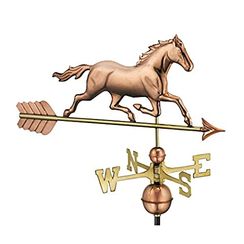 Good Directions Trotting Horse Weathervane, Pure Copper