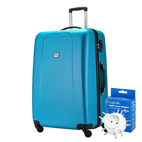 HAUPTSTADTKOFFER® 103 Liter XL Reisekoffer · WEDDING · TSA · MATT · (in versch. Farben) + REISEADAPTER (Weiss) Cyan Blau