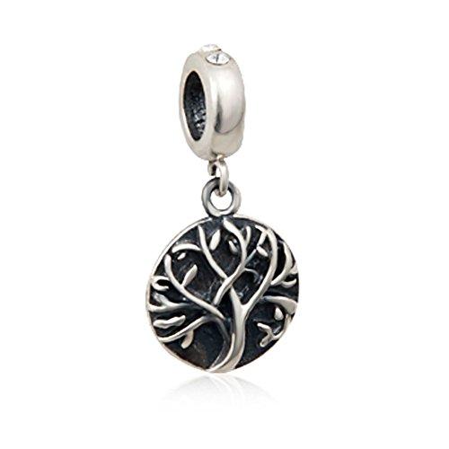 Famiglia albero della vita in argento sterling 925con ciondolo pendente perline per braccialetti snake collane europei da sandcastle festa della mamma regali gioielli