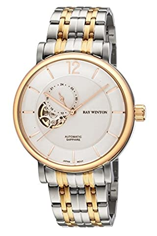 Ray Winton Men's WI0611 Automatic Analog Skeleton White Dial Two-Tone Stainless Steel Bracelet