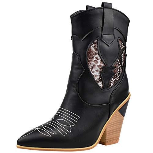 ➤Refill➤Damen Cowboystiefel Biker Boots,Damen Cowgirl Western Leder Spitz Zehen Damen Breite Kalb Stiefel Winterschuhe Winterstiefel Westernreitstiefel mit Blockabsatz