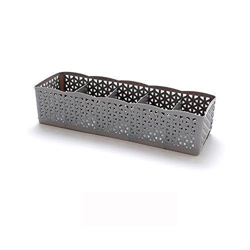 MDenker Plastic Aufbewahrungsbox Tie BH Socken Schublade Cosmetic Divider,5 Zellen Kunststoff Organizer Stapelbare Socken-Aufbewahrungsbox Sammelbox (Grau)