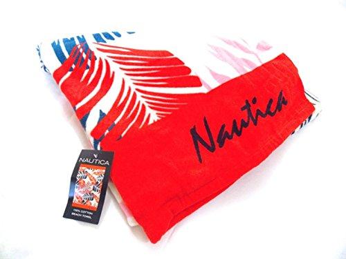nautica-serviette-de-plage-100-coton-rouge-bleu-89cm-x-168cm