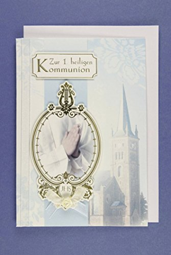1. heilige Kommunion Karte Band Grußkarte Applikation Beten Kirche 16x11cm