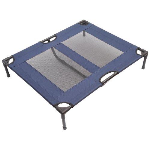 Pawhut Lit sur Pieds XXL pour Chien Chat lit de Camp Animal 92L x 76l x 18H cm Bleu Marine