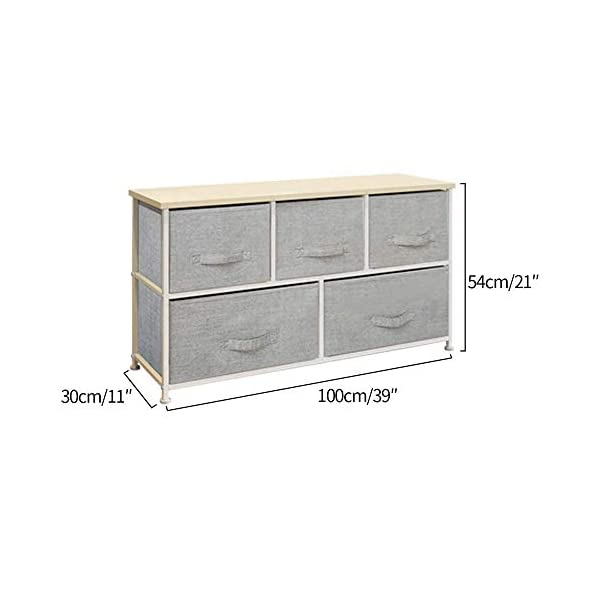 QIHANG-UK Bedroom Wardrobe Dresser Low Chest of Drawers Cabinet Fabric Nursery Storage Organizer Unit with 5 Drawers Storage Box for Children Toys Clothes Home Furniture Hallway 100 * 29*H55cm(7003) QIHANG-UK Product dimensions: W100cm*D29cm*H55cm Material: 18mm Wood Board + Metal Frame + Grey Fabric Drawer with Handle Utility Storage Unit: this chest of drawers will help on improving the efficiency of space usage, make it easier for you to classify and storage stuff, it is suitable for both personal and family use 3