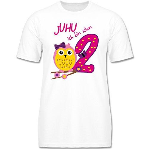 Geburtstag Kind - jUHU ich bin schon 2 - 98 (2-3 Jahre) - Weiß - F140K - Jungen T-Shirt (T-shirts 2 Viele)