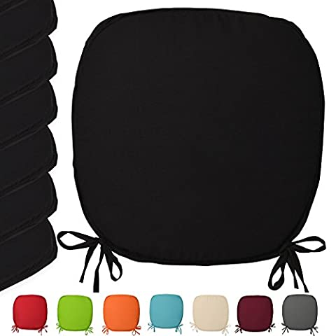 Lot de 6 galettes de chaises - coussins - Coloré - unie - 38x38x1,5 cm - Noir