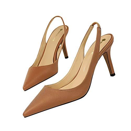 WFheel Sandalen High Heels Sexy Zeigte Feiner Absatz Damenschuhe Hinterer Gürtel Plattform Pumpe Büro Mode Damenschuhe Kleid High Heels (Color : Light Brown, Size : 39) -