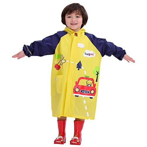 Enfants Combinaisons de Pluie Poncho Imperméable Cape de Pluie à Capuche Réutilisable Veste de Pluie, M/Pour 4-6 Ans