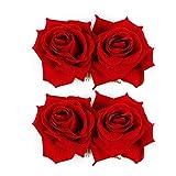 WBCBEC Paquet de 2 Pince à cheveux Fleur Rose Femme Accessoires fleurs à cheveux Pince à cheveux pour mariée Danseuse de flamenco (Rouge)