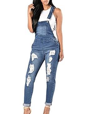 Guiran Mujer Mono Vaquero Denim Peto Casual Elegante Slim Pantalones Con Rasgaduras Decorativas Azul M