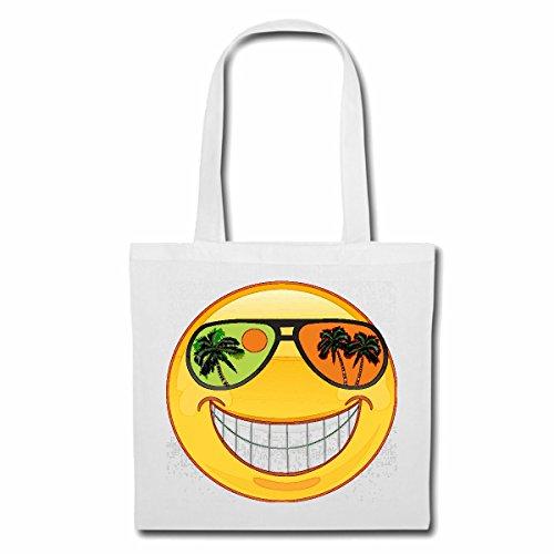 Tasche Umhängetasche Smiley IM Urlaub AUF Einer SÜDSEEINSEL MIT Sonnenbrille Smileys Smilies Android iPhone Emoticons IOS GRINSE Gesicht Emoticon APP Einkaufstasche Schulbeutel Turnbeutel in Weiß