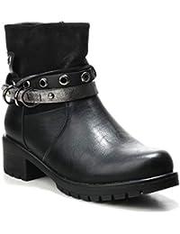 c4ce46d913e2 HERIXO Damen Schuhe Stiefeletten Riemen Bänder Ösen Detail Boots  Reissverscluss Materialmix