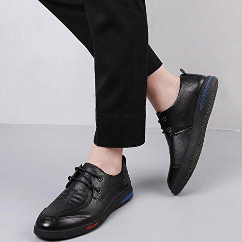 Hommes Casual Baskets basses pour hommes occasionnels chaussures en cuir pour hommes ( Color : Brown-38 ) Black-42