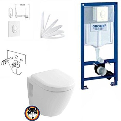 Grohe Vorwandelement mit Drückerplatte, Toto CW762Y Wand WC TORNADO FLUSH, WC Sitz Softclose (Toto Wc-schüssel)
