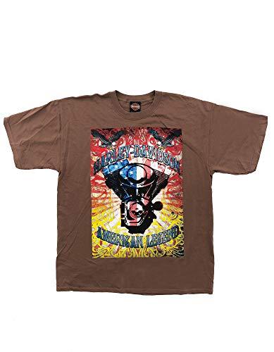 Harley Davidson Original HD T-Shirt für Biker - Retro American Legend Harley T-Shirt für Biker - Rockabillys und den Harley Fahrer - braun, Größe:XL