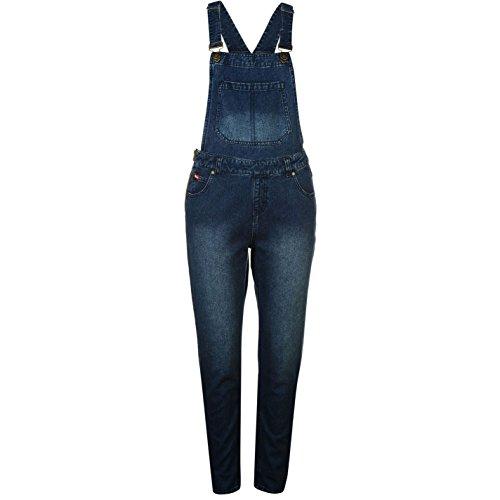 Lee Cooper Donna Salopette Denim Jeans Pantaloni Monopezzo Tasche Casual Denim 14 (L)